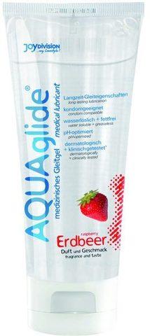 Гель-лубрикант на водной основе AQUAglide с ароматом клубники - 100 мл.