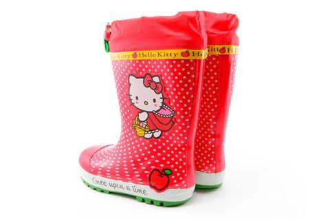 Резиновые сапоги для девочек утепленные Хелло Китти (Hello Kitty), цвет красный. Изображение 6 из 11.