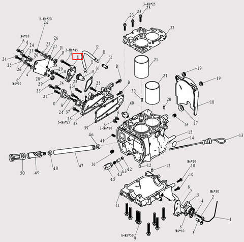 Крышка корпуса термостата для лодочного мотора F9.8 Sea-PRO (3-31)