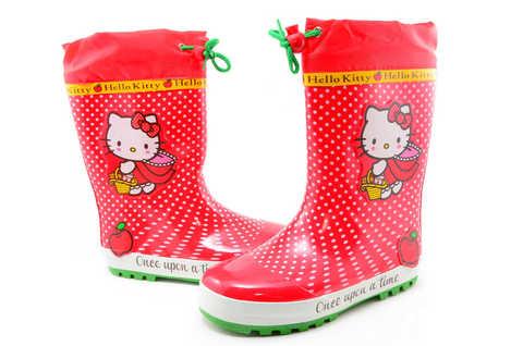 Резиновые сапоги для девочек утепленные Хелло Китти (Hello Kitty), цвет красный. Изображение 7 из 11.