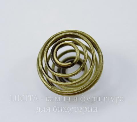 """Пружинка """"ловушка для бусин"""" (цвет - античная бронза) 15 мм"""