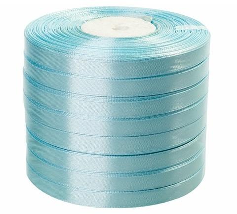 Лента атласная (размер: 10 мм х 50 ярд) Цвет: светло-голубая