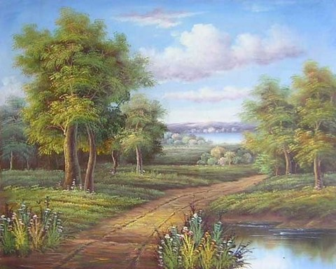 Алмазная Мозаика + Багет 40x50 Лесная дорога