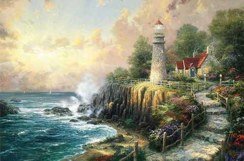 Картина раскраска по номерам 50x65 Дом с маяком на обрыве у океана