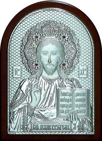 Серебряная инкрустированная гранатами икона Иисуса Христа Спасителя 20х14,5см в подарочной коробке