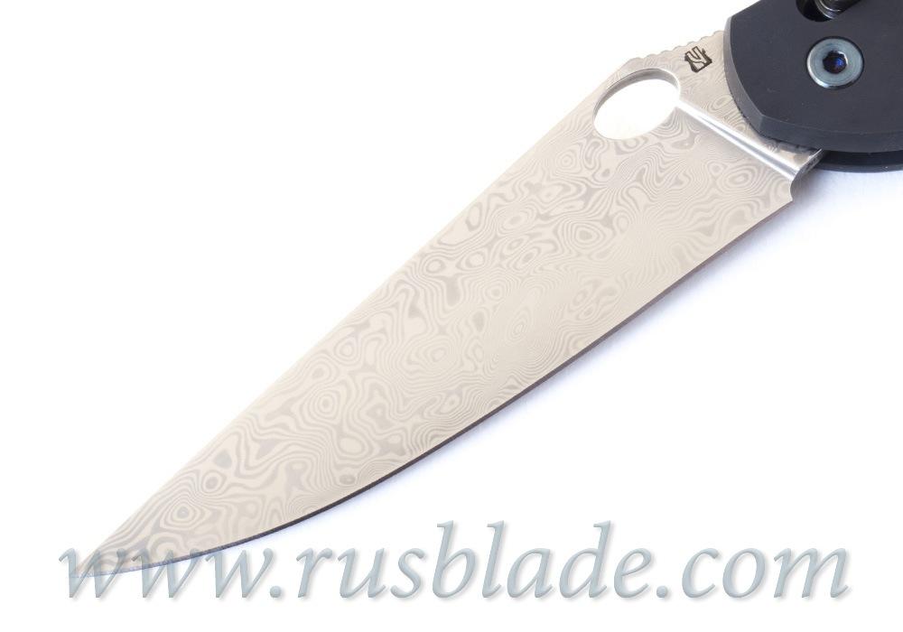 Cheburkov Axis Raven Damascus Titanium CF Folding Knife