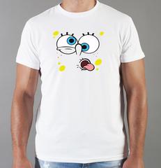 Футболка с принтом мультфильма Губка Боб Квадратные Штаны/ Спанч Боб (SpongeBob SquarePants) белая 0013