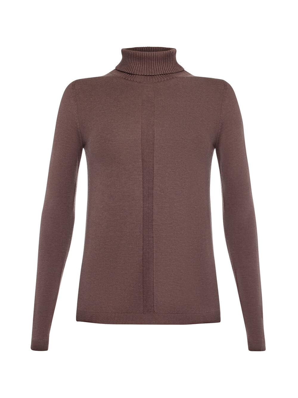 Женский джемпер коричневого цвета из шерсти и шелка - фото 1