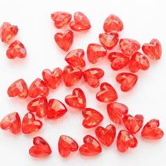 Бусина акриловая Сердце с огранкой красное 12х12х8 мм, 10 штук