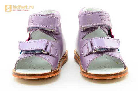 Босоножки на первый шаг Тотто из натуральной кожи на липучках для девочки, цвет сирень. Изображение 5 из 16.
