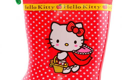 Резиновые сапоги для девочек утепленные Хелло Китти (Hello Kitty), цвет красный. Изображение 9 из 11.