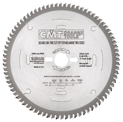 Пильный диск СМТ для МДФ и ДСП 250x30x3,2/2,2  40° Hi ATB Z=80