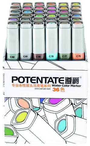 Набор маркеров Potentate Box Set, 36 цветов, Water based