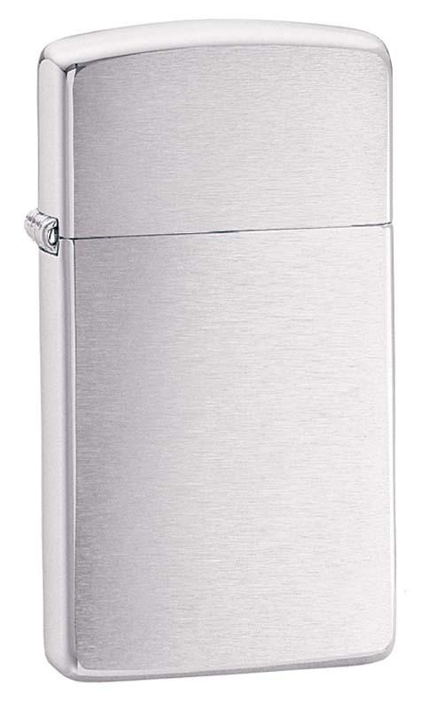 Зажигалка ZIPPO Slim® с покрытием Brushed Chrome ZP- 1600