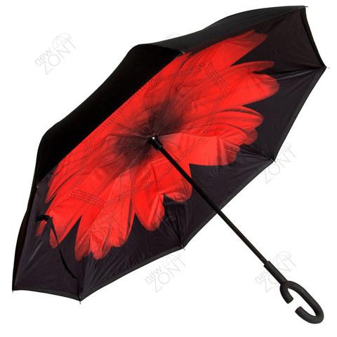 Зонт обратного открывания красный цветок полуавтомат