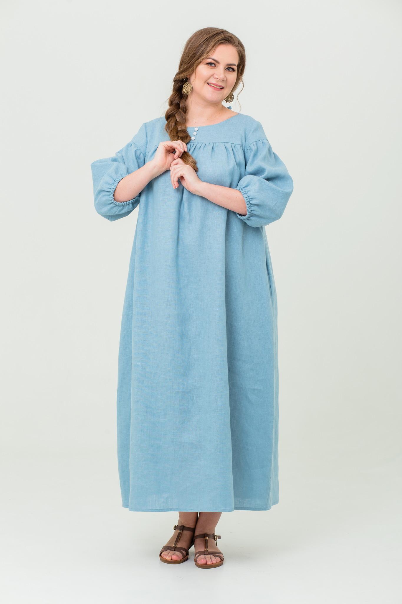 Платье льняное Босиком по росе славянское