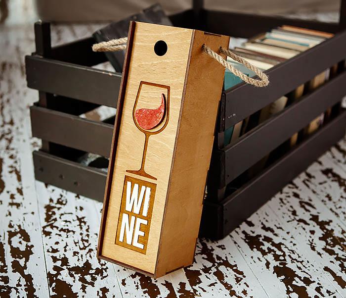 BOX242 Деревянная коробка для вина с раскрасом (33*10*10,5 см) фото 02