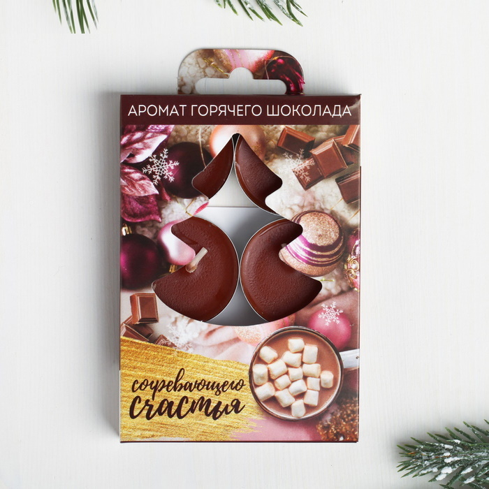 Свечи ароматические новогодние Аромат Горячего Шоколада набор 6 штук фото