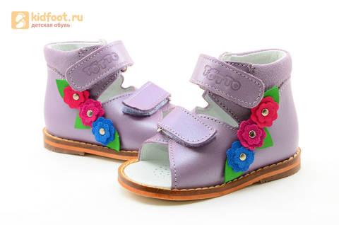 Босоножки на первый шаг Тотто из натуральной кожи на липучках для девочки, цвет сирень. Изображение 11 из 16.