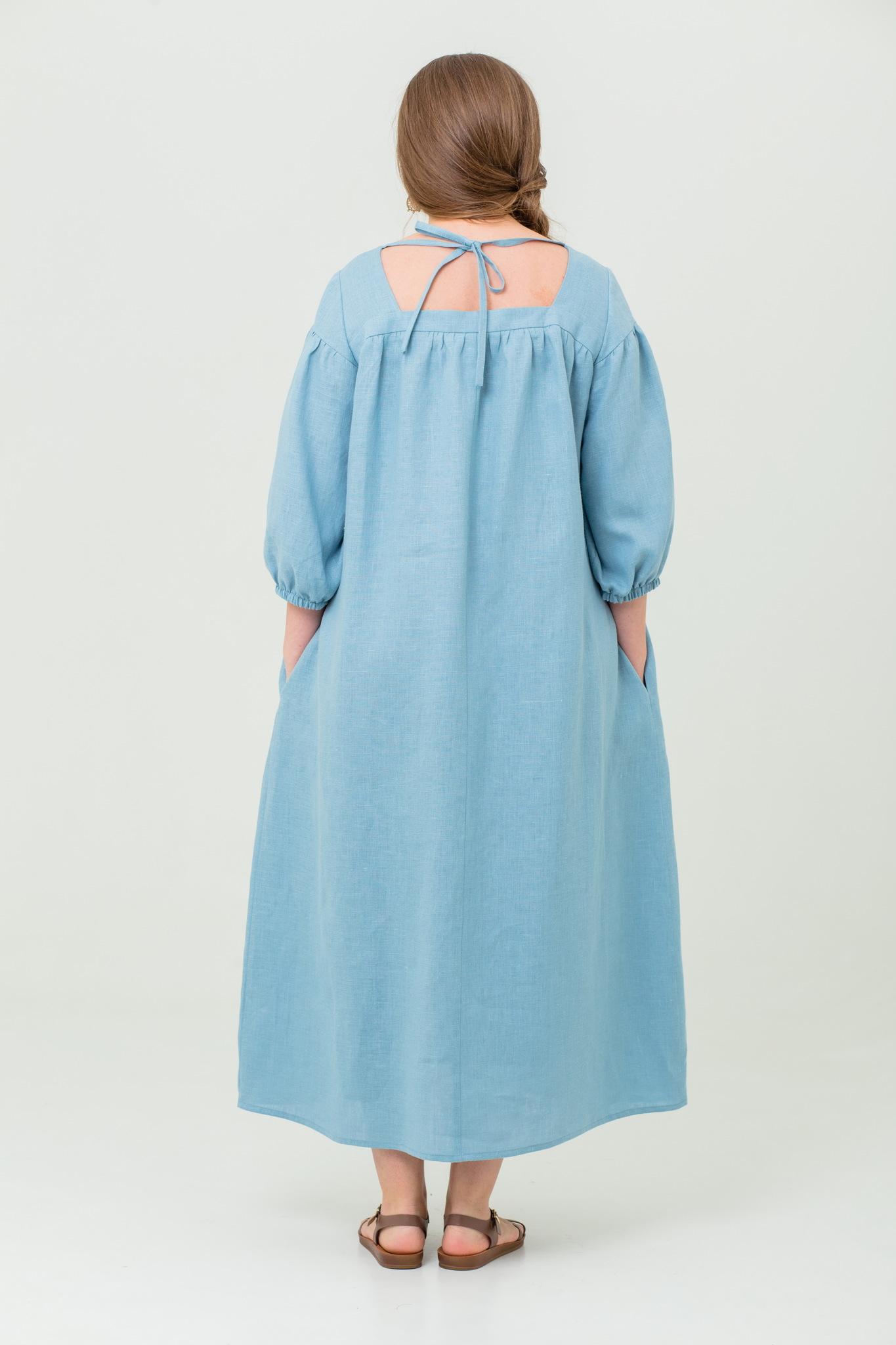Платье льняное Босиком по росе с пышным рукавом