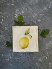 Ботаническое панно (сильное состаривание), 10х10х1 Клевер. Шиповник. Лимон. Трио.