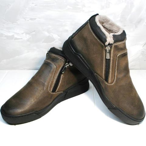 Коричневые ботинки мужские зимние Rifellini Rovigo 046 Brown Black
