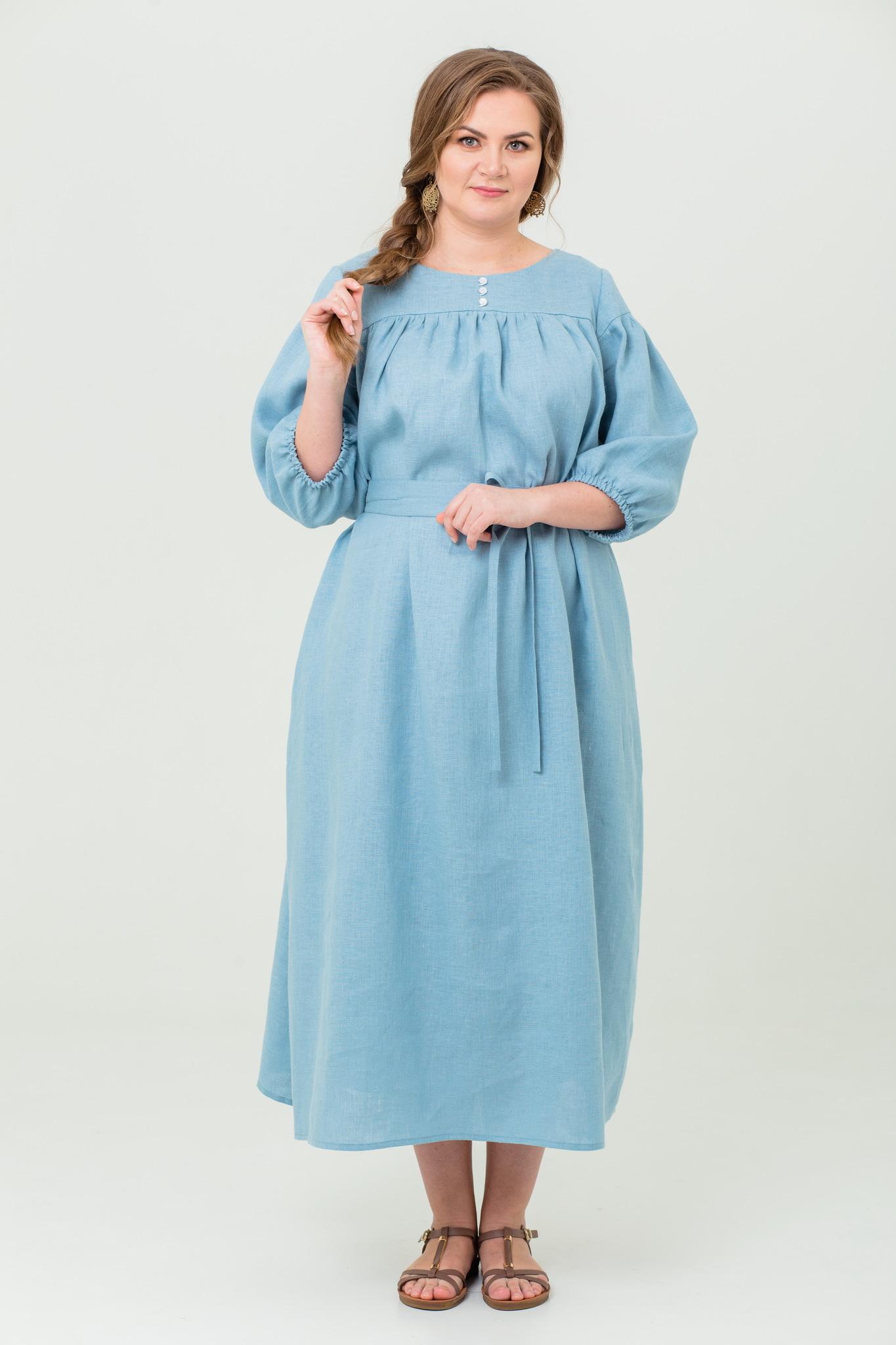 Платье льняное Босиком по росе с поясом
