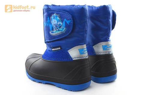 Зимние сапоги для мальчиков непромокаемые с резиновой галошей Фиксики, цвет синий, Water Resistant. Изображение 7 из 17.