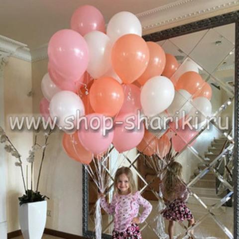 Шары персик розовые белые