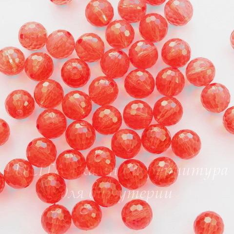 Бусина акриловая шарик с огранкой красный 10 мм, 10 штук