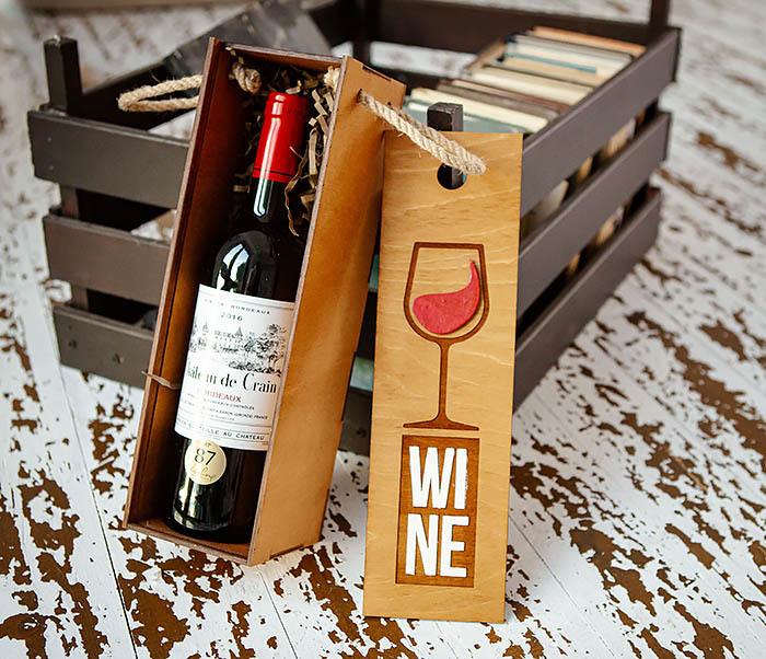 BOX242 Деревянная коробка для вина с раскрасом (33*10*10,5 см) фото 06