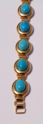 Овал Б с бирюзой  (серебряный браслет  с позолотой)