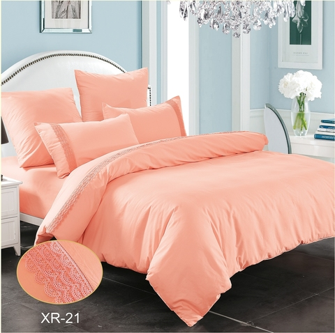 2-Спальное однотонное постельное белье розовое