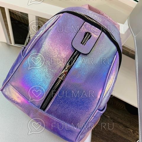 Рюкзак для девочки Голографический с переливами Лиловый