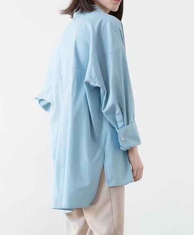Рубашка-бойфренд голубая
