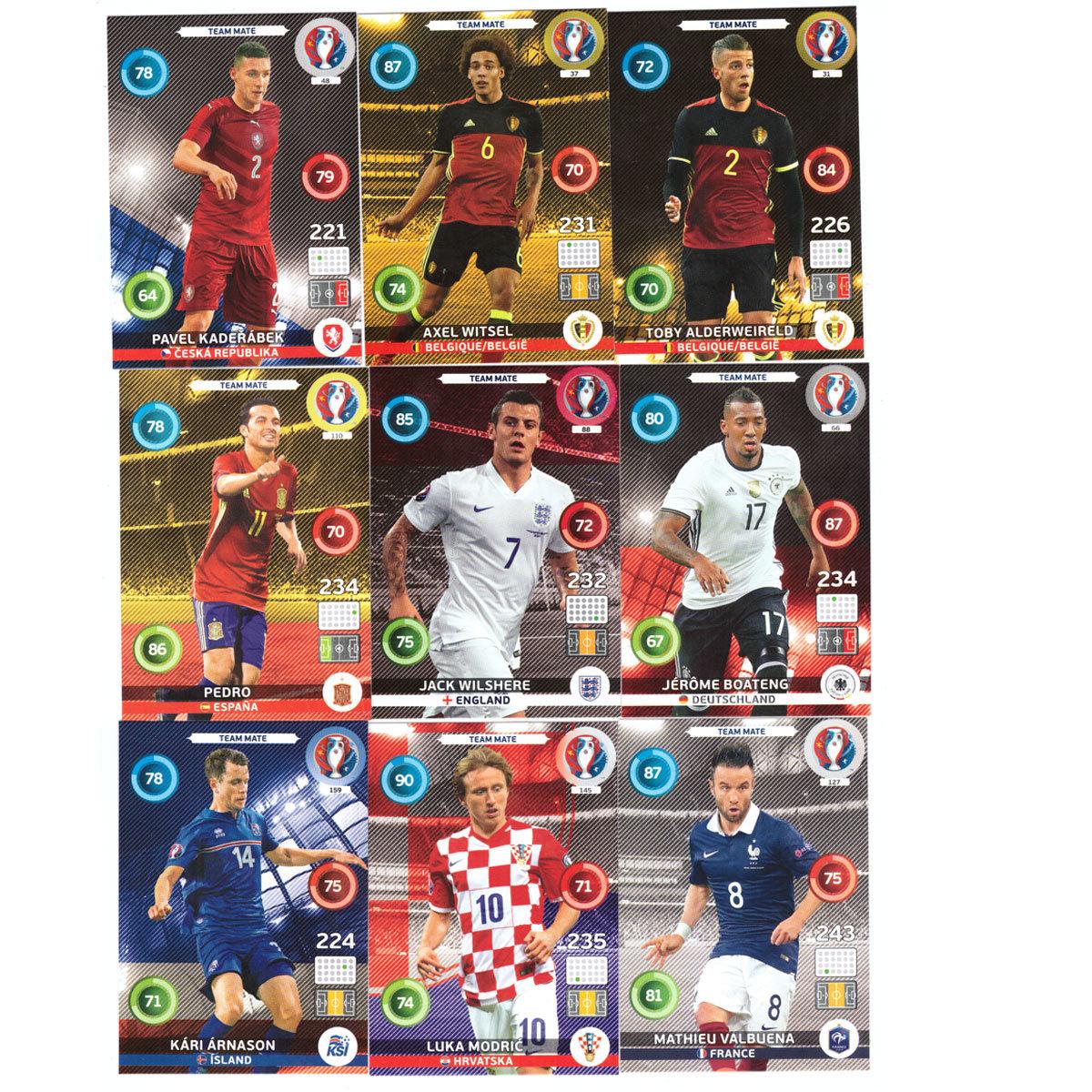Спортивные карточки. Футбол. Базовый сет. Набор 135 шт. PANINI Евро 2016. Adrenalyn XL