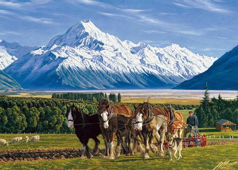 Картина раскраска по номерам 50x65 Повозка с лошадьми на фоне гор