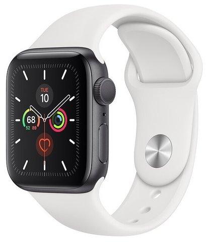 Часы Apple Watch Series 5 GPS 44mm Aluminum Case with Sport Band Серебристый/Белый