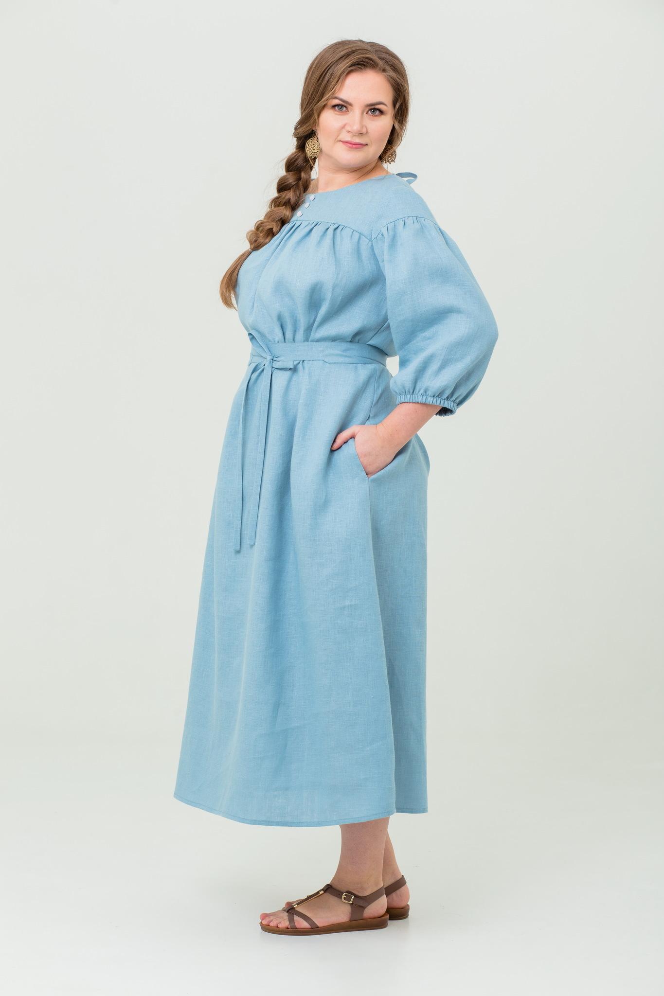 Платье льняное Босиком по росе длинное