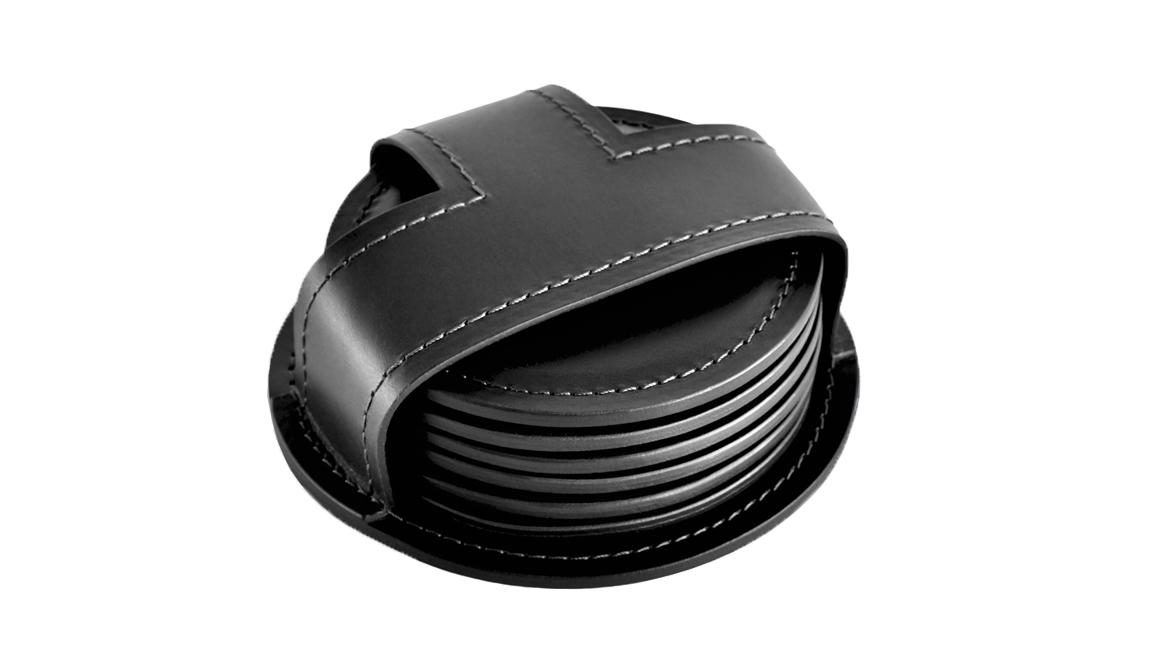 Набор костеров в чехле 6 штук. Кожа цвет черный.