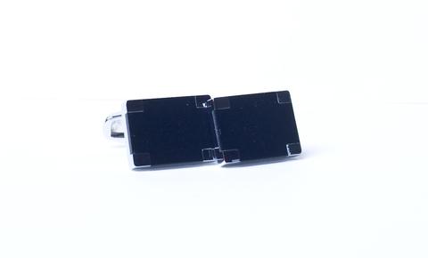 Запонки Lorendi Capri белого металла прямоугольные черные
