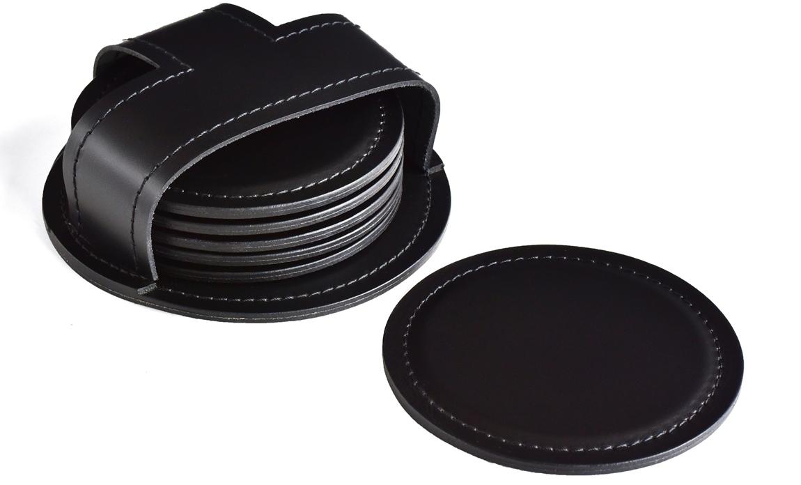 Набор костеров 6 шт. в чехле серии Бизнес кожа Cuoietto цвет черный.