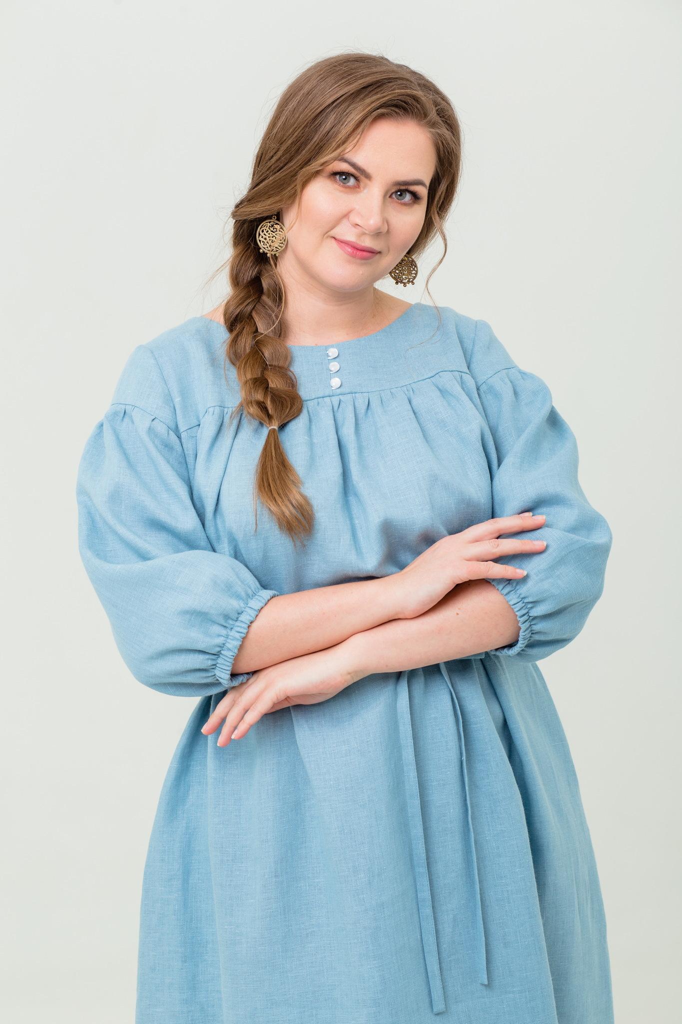 Платье льняное Босиком по росе с пуговицами