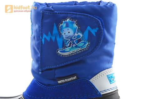 Зимние сапоги для мальчиков непромокаемые с резиновой галошей Фиксики, цвет синий, Water Resistant. Изображение 15 из 17.