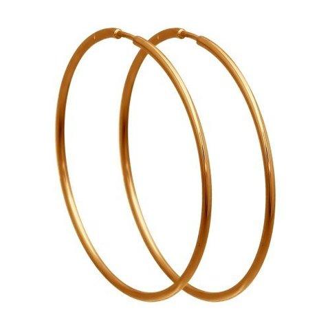 140003 Серьги-конго из золота 585 пробы Ø 30 мм гладкие
