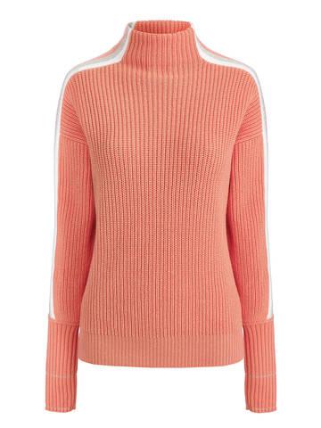 Женский джемпер кораллового цвета с контрастными полосами - фото 5