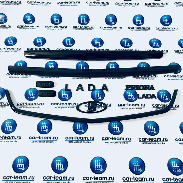 Комплект сабель и шильдиков Black Edition на Лада Приора, черный лак
