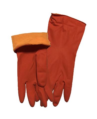 Перчатки латексные утеплённые короткие красные
