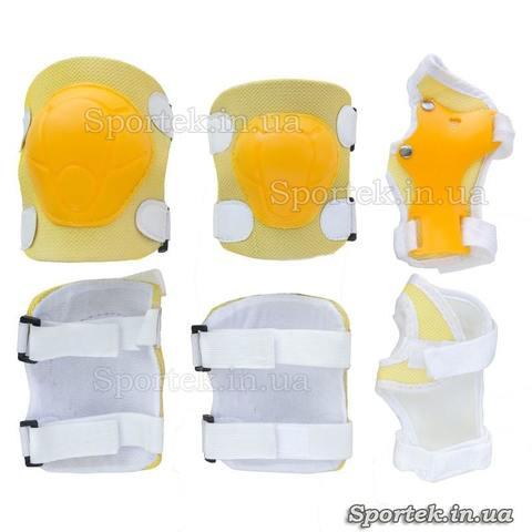 Захист жовтого кольору на гумках з липучками для катання дітей на велосипедах, роликах, скейтбордах