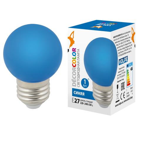 LED-G45-1W/BLUE/E27/FR/С Лампа декоративная светодиодная. Форма